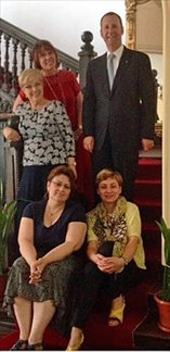 August 2015 - with Dr Rodica Tanasescu and other leaders of Romania's National Society of Family Medicine at the Society's offices in Bucharest